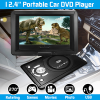 USB2.0 SD Adjust Viewing Angle 12.4 Portable Car DVD Player Game Remote Control 270 Rotation Screen Support TV/Game Function