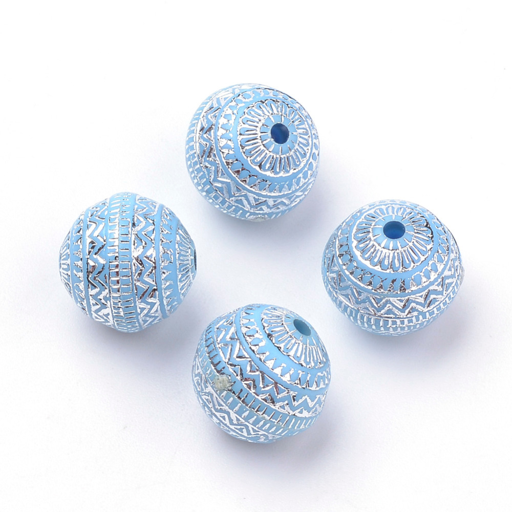 20pcs 11.5x11mm Round Cornflower Blue Plating Acrylic Beads Silver Metal Enlaced Folk Style with 1.5mm Hole for Jewelry Making title=