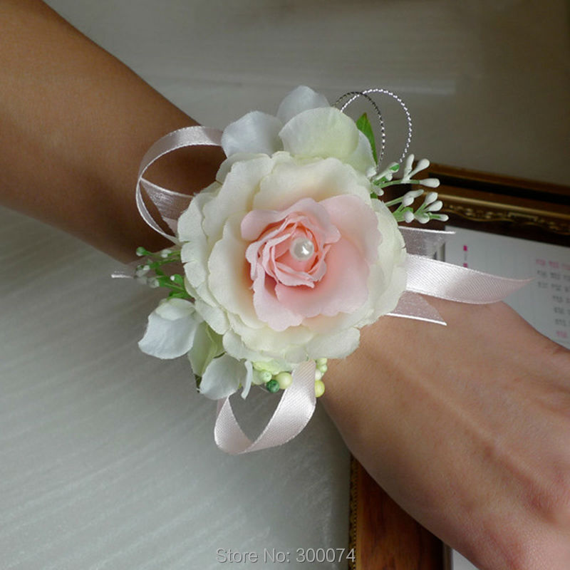 Artificial Silk Rose Wrist flower Corsage for Wedding Homecoming or ...