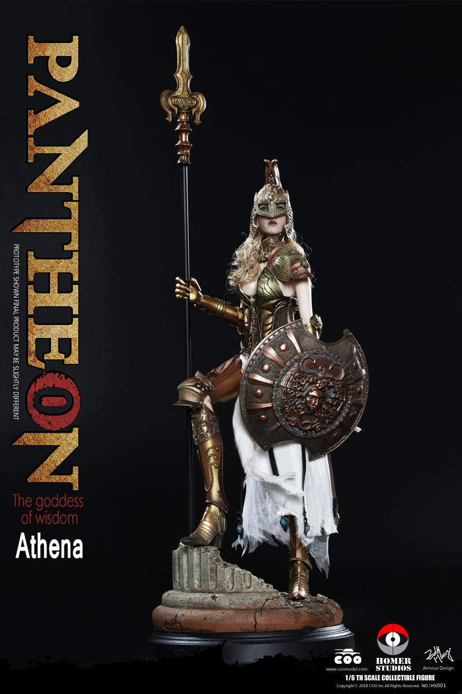 COOMODEL X HOMER HS001 PANTHEON ATHENA GODDESS OF WISDOM 1 6 Figure with Base