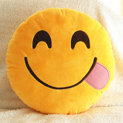 Bed-Home-Office-Car-Emoji-Smiley-Smile-Emoticon-Yellow-Round-Cushion-Pillow-Stuf
