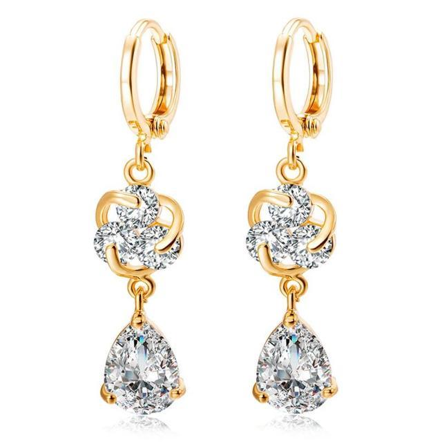 Women Por Beautiful Drop Earrings 2017 Fashion Las Flower Water Droplets Zircon Earring Jewelry