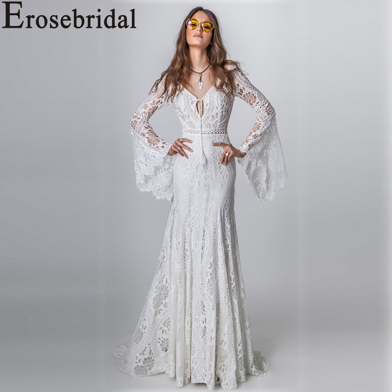 Erosebridal New Arrival 2019 Boho Wedding Dress Flare Sleeve Wedding Gown Lace Bride Dress V-Neck vestido de noiva Plus Size