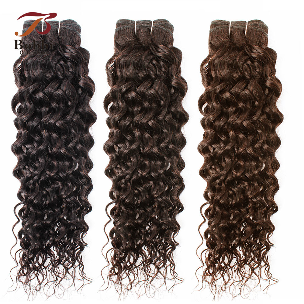 Bobbi Collection 1 Bundle Brazilian Water Wave Human Hair Weft 10-26 Inch Natural Color Brown Hair Extension Non Remy Hair Weave