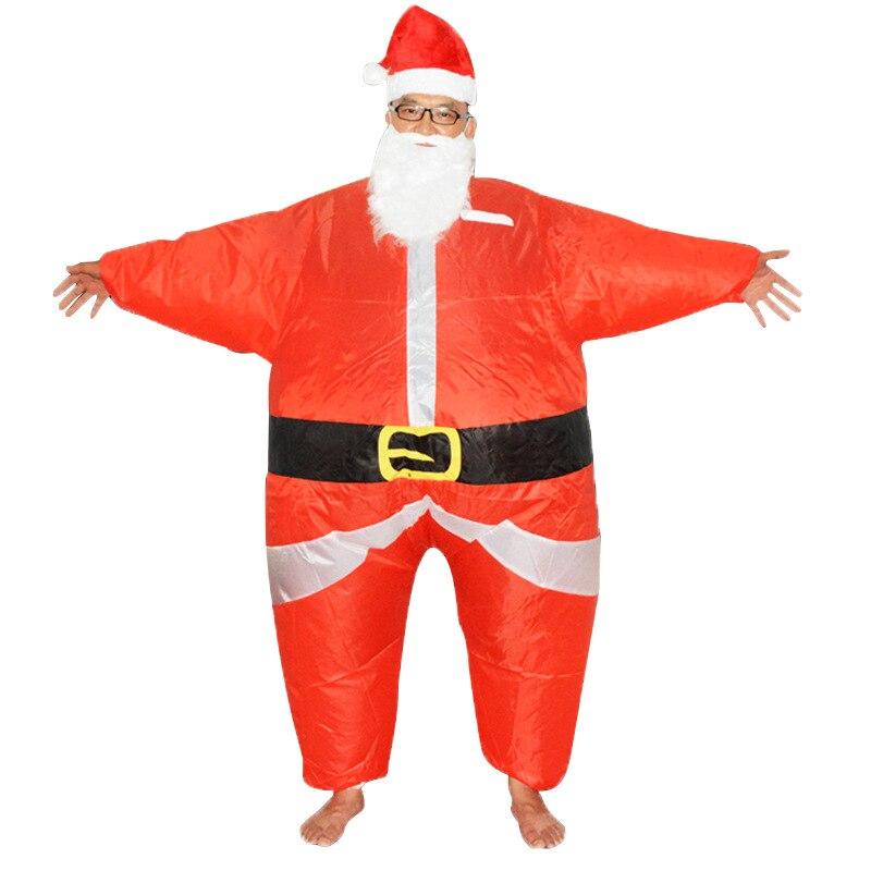 Ruimdenkende Volwassen Kerst Opblaasbare Kerstman Kostuum Fancy Prestaties Jumpsuit Voeren Mascotte Halloween Vrouwen Mannen Cosplay Outfits 50% Korting