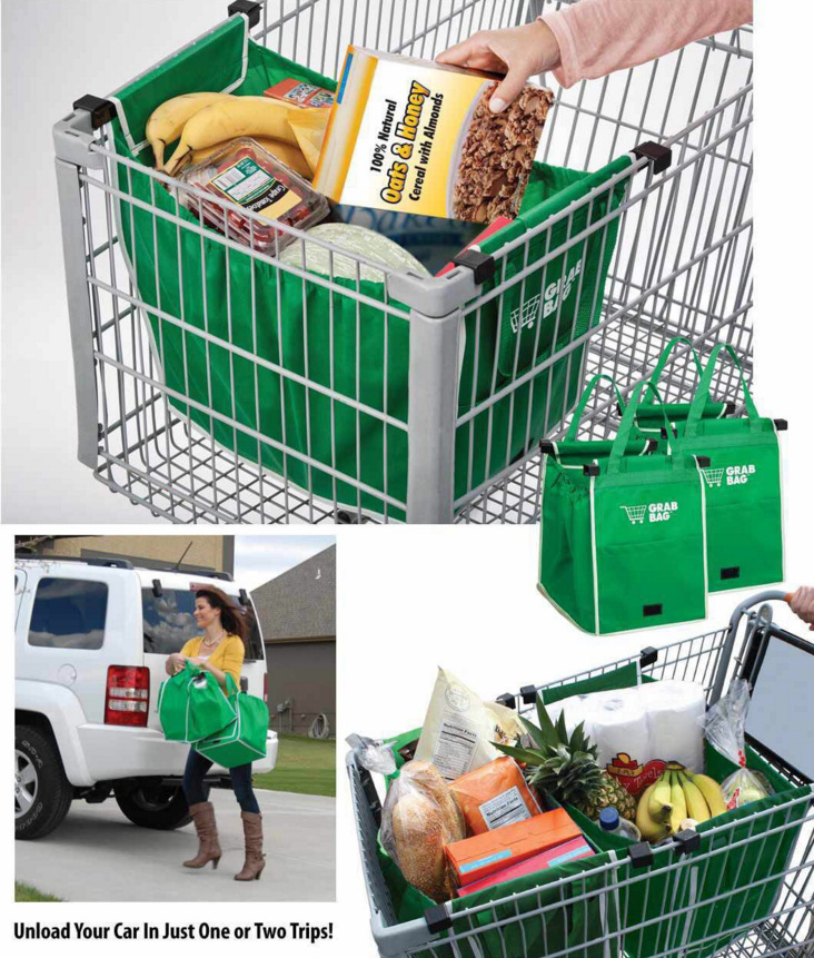 Reusable Large Trolley Clip-To-Cart Grocery Shopping Bags Portable Green Cloth Bag Folda ...