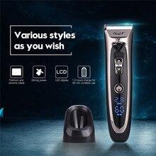Профессиональная машинка для стрижки волос высокой точности с титановым керамическим лезвием, перезаряжаемый триммер для волос, светодиодная электрическая машина для резки волос P34