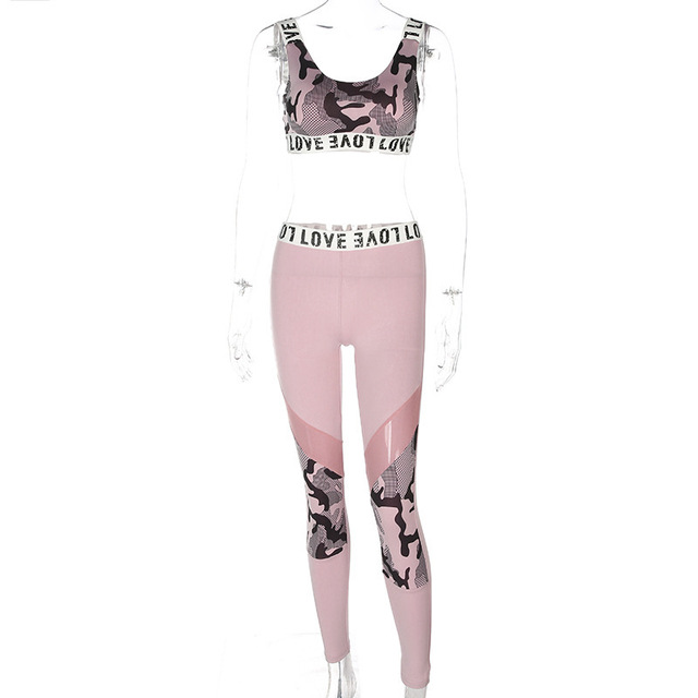 Women's Fitness Suits Pink Crop Tank Top Legging Pants 2 Pieces Set Fashion Female Sexy Camouflage Workout Tracksuit Summer Set 3