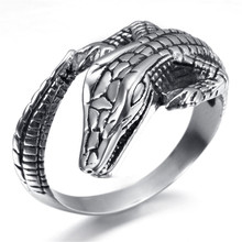 Crocodile Men Personality Stainless Steel Rings Punk Style Ring Exaggerate Fashion Jewelry