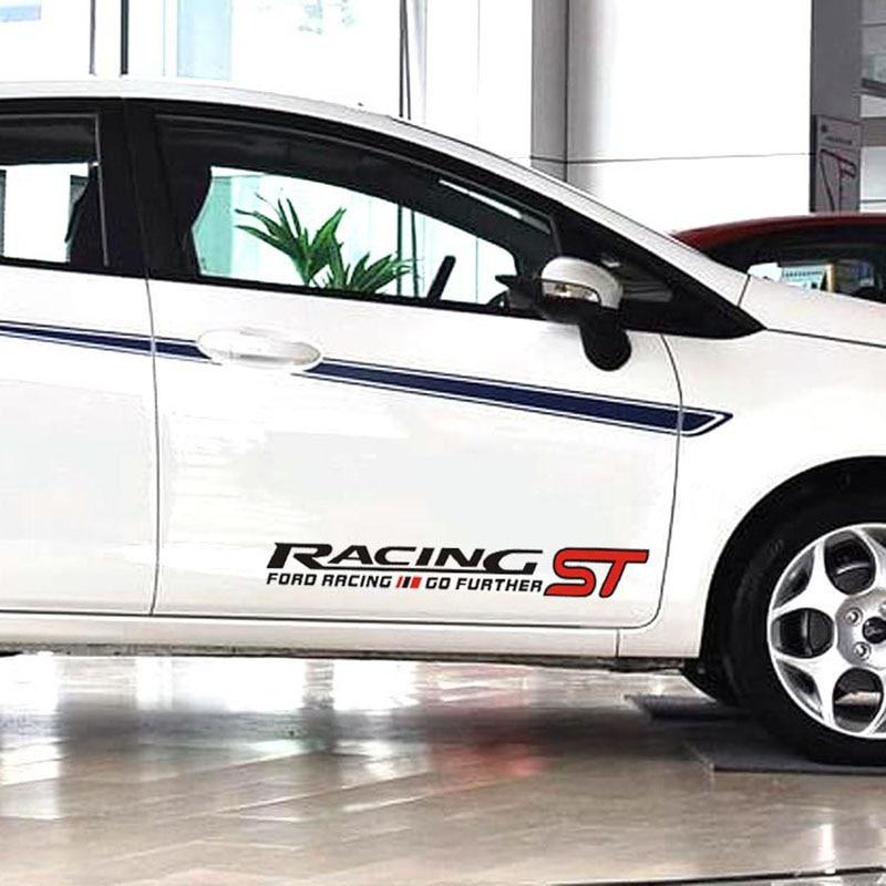 1 пара виниловых наклеек ST RACING Car Styling, линия талии, дверь, рестайлинг автомобиля, 50*8 см, боковое украшение автомобиля
