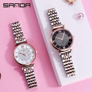 Image 5 - 2019 חדש SANDA נשים של שעון יוקרה פלדת חגורת צמיד אופנה שעון מראת זכוכית מינרל מזדמן עמיד למים קוורץ שעון