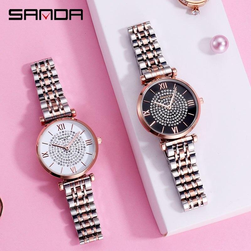 Image 5 - 2019 nuovo SANDA vigilanza delle donne di lusso cintura in acciaio wristband della vigilanza di modo specchio di vetro minerale casuale orologio al quarzo impermeabileOrologi da donna   -