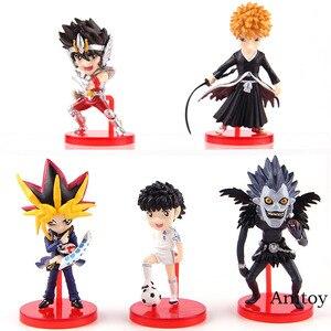 Image 1 - Anime Bleach Kurosaki Ichigo Saint Seiya Ozora Tsubasa Yugi Muto Ryuk figurka pcv Model kolekcjonerski figurki zabawki 5 sztuk/zestaw