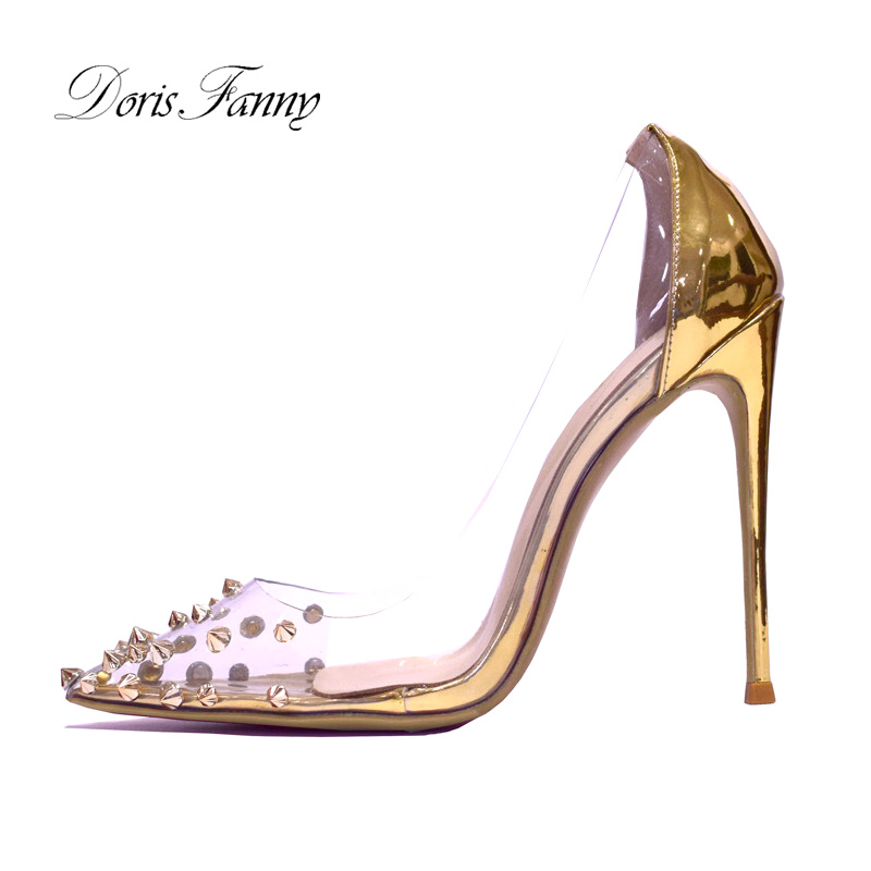 Doris Fanny Stilleto Pointed Toe Gold High Heels Women's Shoes 2019 Transparent Wedding Ladies Shoes Studded Heels