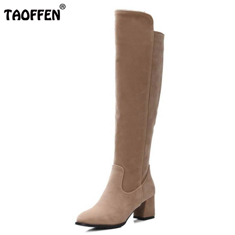 TAOFFEN Autumn Over Knee High Boots Round Toe Side Zipper Warm Riding Women Botas Ladies Shoes Footwear Size 30-48 scoyco motorcycle riding knee protector extreme sports knee pads bycle cycling bike racing tactal skate protective ear