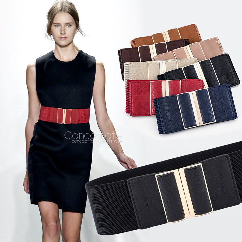 Aliexpress.com : Buy Fashion Womens Cowskin Metal Mirror Elastic ...