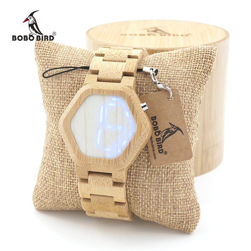 BOBO BIRD Men Unique Bamboo Wooden Watches LED Dial WristWatch With Wood Links relojes hombre In Gift Box Custom logo