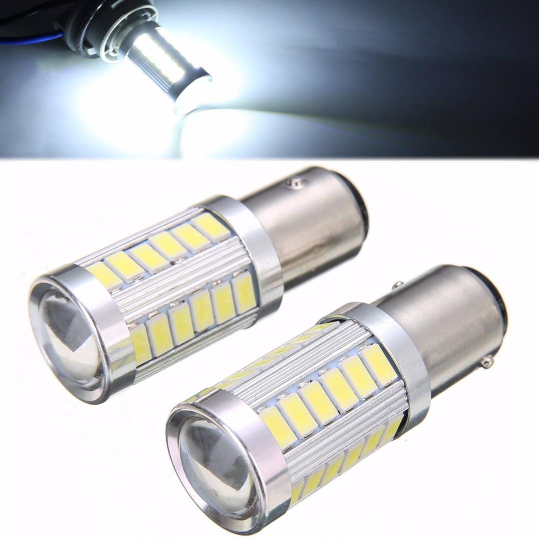Hot Sale 2pcs BAY15D P21 5W 1157 33 SMD LED Car Headlight Backup Reverse Fog Head Light Replacement Bulb 6500K White Lighting