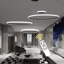 Çember yüzükler Modern ev için Led tavan ışık oturma odası yatak odası yemek odası cilalar tavan lambası siyah beyaz Lampare de teknoloji
