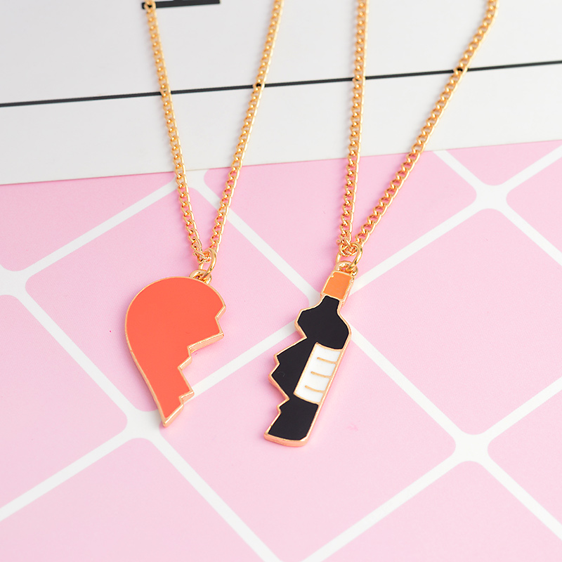 Best friend 2 pieces Heart and wine pendant Necklace girlfriend boyfriend couple Jewelry Anniversary gifts for women