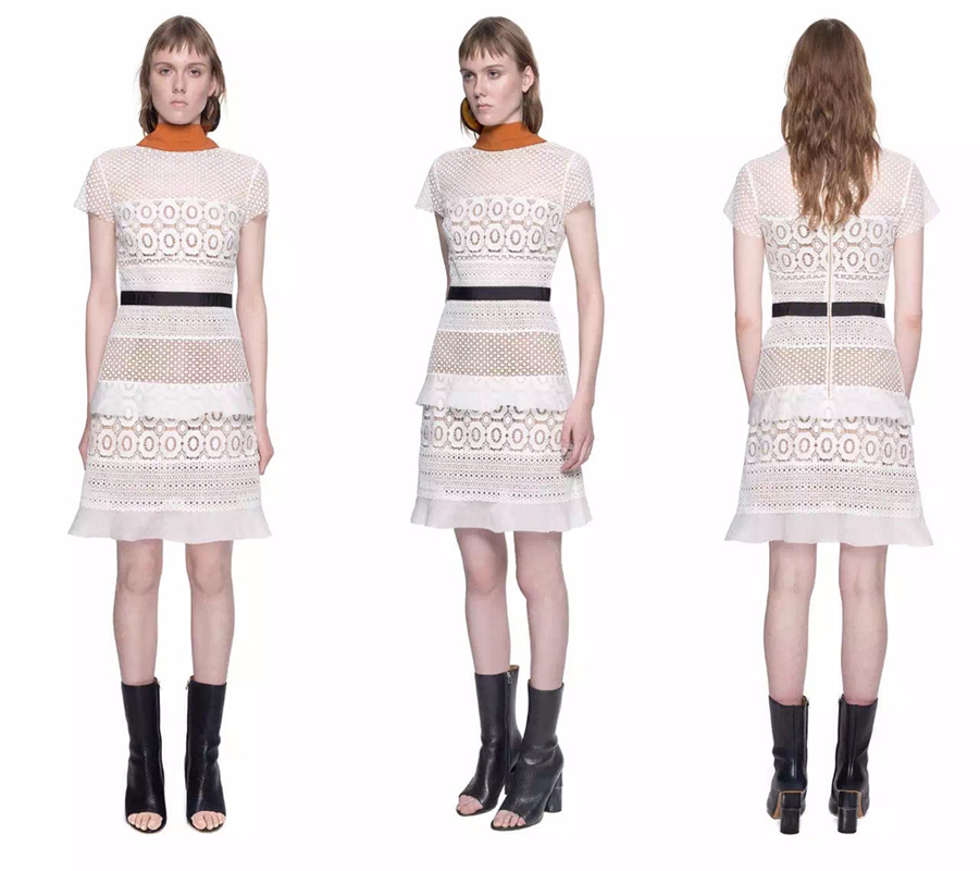 daa13985ae1f 2016 New arrive self portrait hot sale sexy White lace Hollow Out Petunia A  line Panel Mini dress Free Shipping
