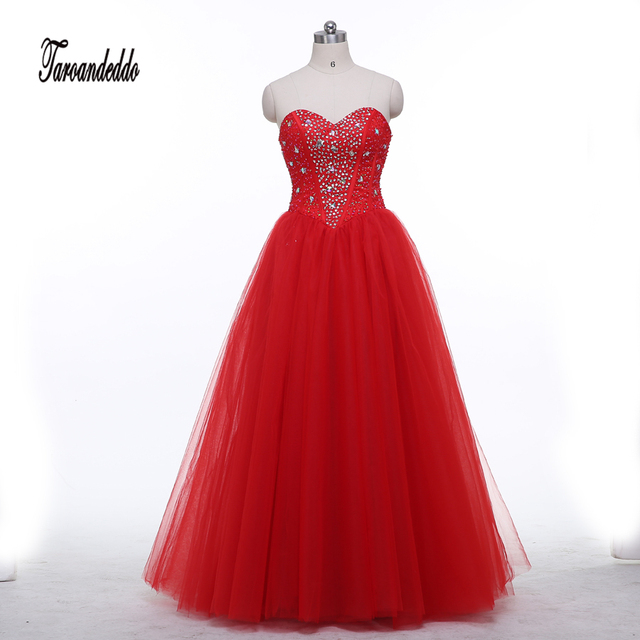 Sweetheart Exposed Boning Hot Red Tulle A line Floor Length Prom ...
