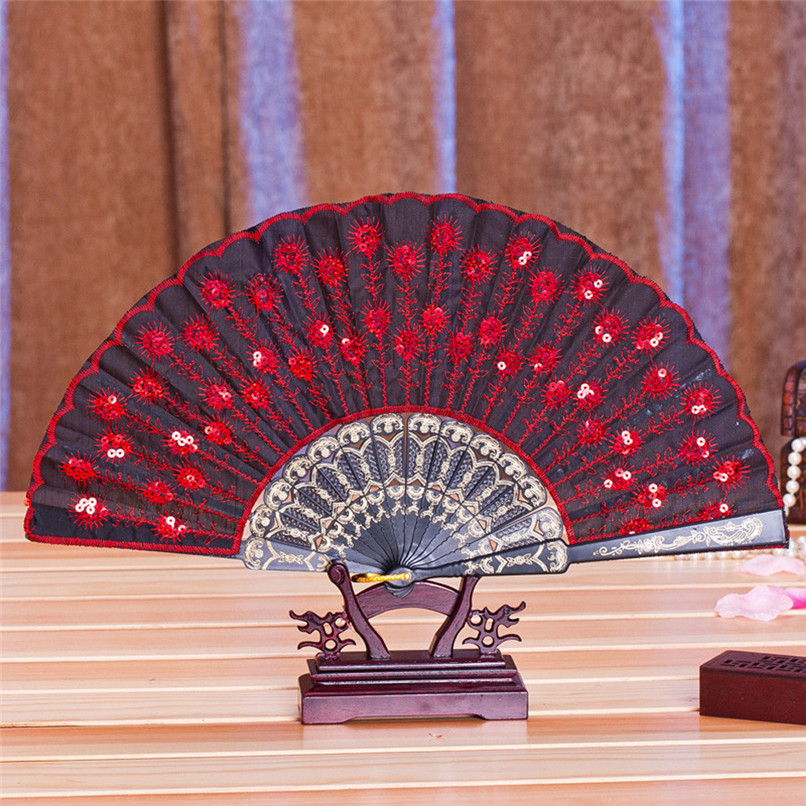 1PC Hand Fans Folding Peacock Pattern Embroidered Sequin Hand Held Chinese Fan Wedding Favors and Gifts abanicos de mano J14#3 (6)