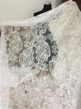 1 yard Fine Clear Sequin Tulle Lace Fabric with Big Leaf Flower for bridal dresses, Off-White Bridal Gown Wedding by