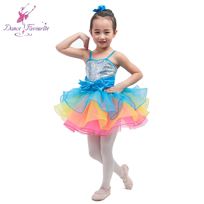 In Stock Kids colorful sequin dress for dancing Jazz ballet dance costume blue yellow pink girls