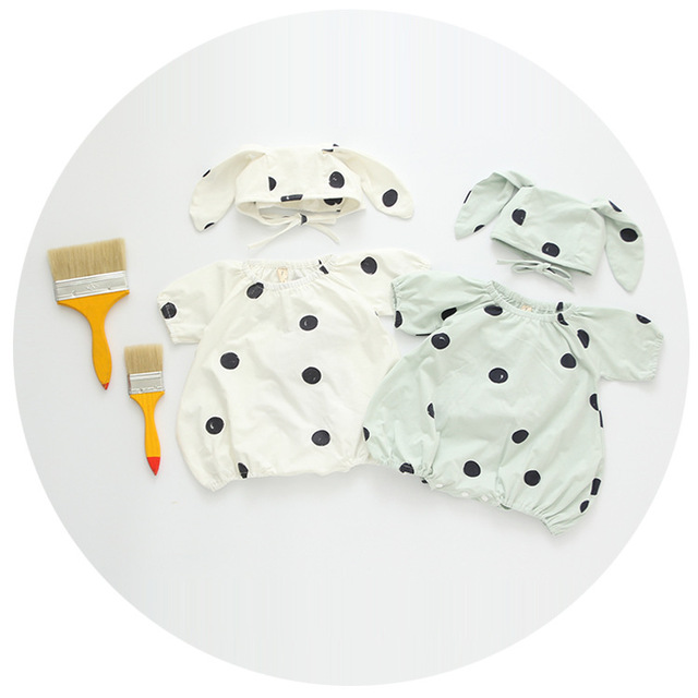 2016 summer infant romper with rabbit hatbaby boy and girl cotton & linen fabric polka dot jumpsuit kids children clothing