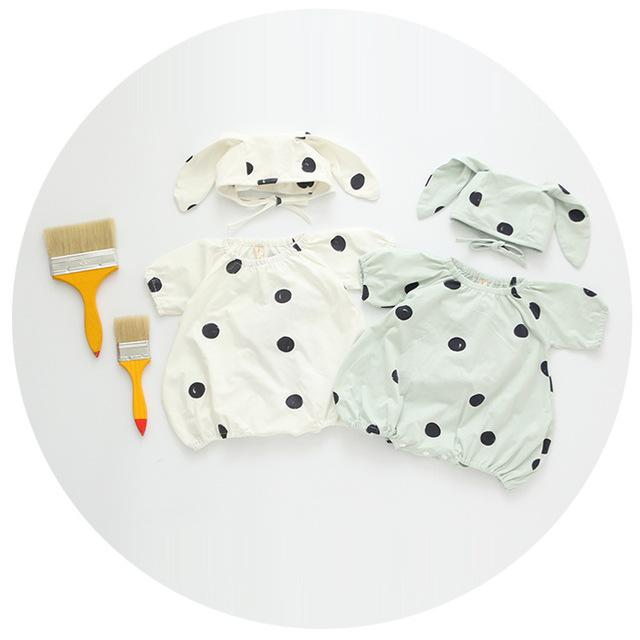 2016 verano infantil del mameluco con conejo hatbaby niño y niña de algodón y lino de la tela de lunares del mono de los niños ropa de los niños