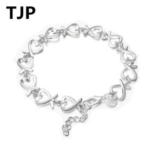 TJP Latest 925 Silver Women Bracelets Jewelry Fashion Heart Shaped Link Chain Bangles For Girl Lady Birthday Valentines Day