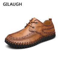 GILAUGH Brand Casual Handmade Brand Genuine Leather Shoes Men Flats Oxford Shoes Fashion Work Shoe