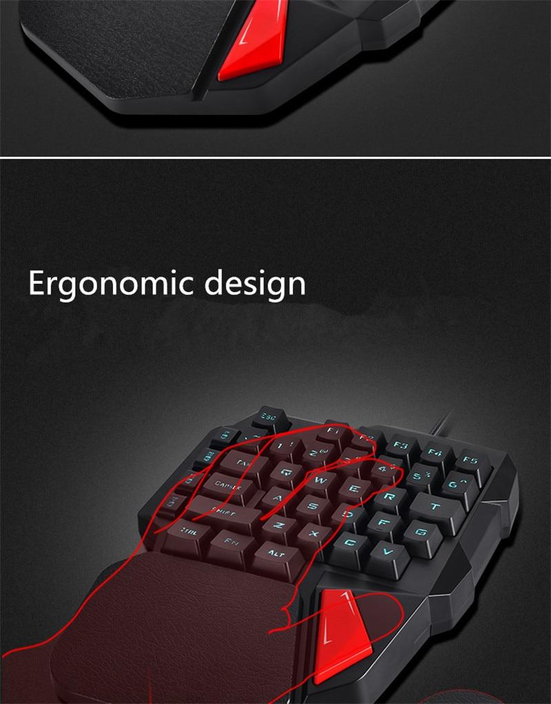 K108 Gaming Keyboard USB Wired 38 keys One/Single Hand Mechanical ...