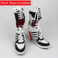 Full Stock Harley Quinn Cosplay Shoes Suicide Squad Cos Boots Red Heels PU Leahter Custom Made