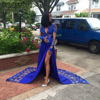 Royal Blue Lace Appliques Prom Dress High Split Unique Formal Party Dress for Black Women Homecoming Celebrity Maxi Gowns