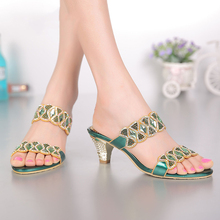 2016 Summer Hot Style Peep Toe Women Wedges Thick Heel 8 Cm Slippers Sandals Shoes Size 11 Clogs & Mules Outdoor Free Shipping