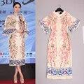 Мода изысканный жаккардовые ткани стерео персик отпечатано рог рукавом платье женщины и 2015 китайский ветер новый
