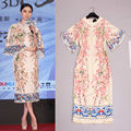 Fashion exquisite jacquard fabrics stereo peach printed horn sleeve dress women dresses and 2015 Chinese wind new