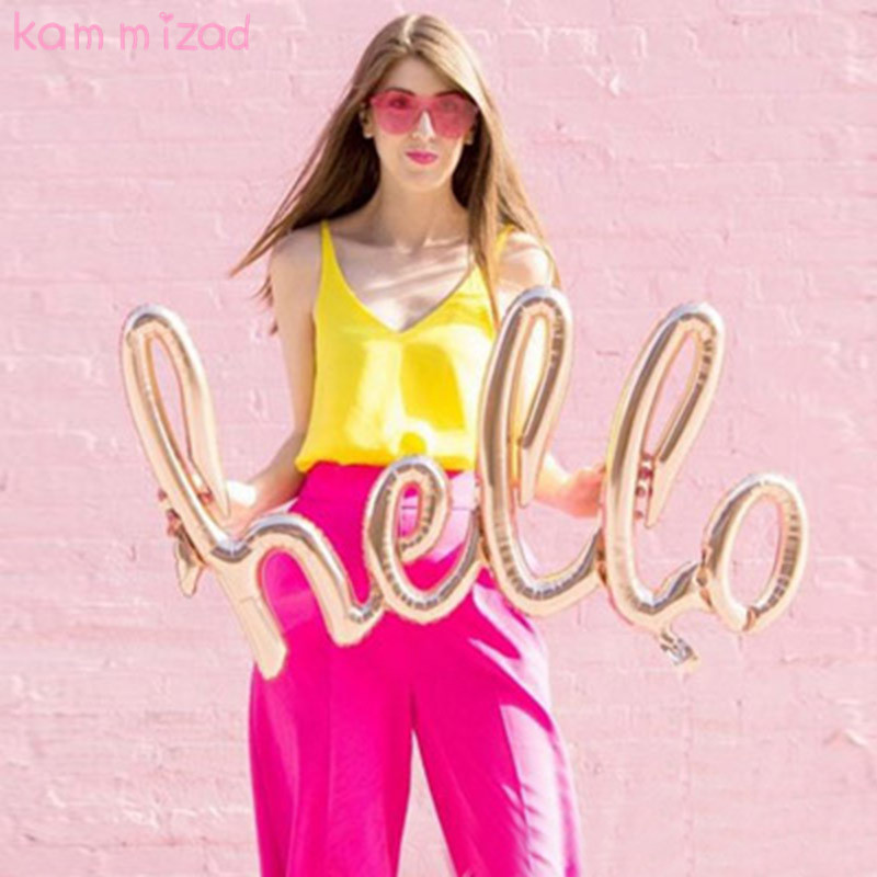 KAMMIZAD Large Hello Script Balloon Baby Shower Decorations Hello World Hello Baby Decor Smash Cake Photo Prop - Letter Balloons