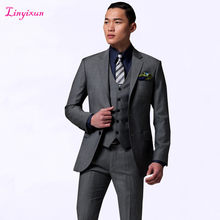Linyixun 2017 Business Men Suit Bespoke Classic Gray Wedding Custom Made Suits For Men Tailor Made Groom Two pieces(China)