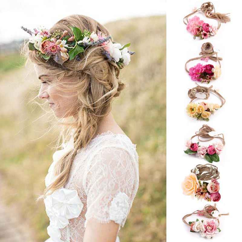Women Girl Boho Flower Floral Hairband Headband Wreath Party Bride Wedding Beach
