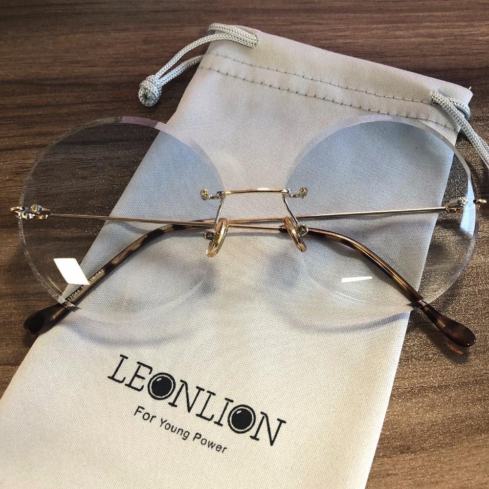 LeonLion 2018 Metal Goggle Rimless Sunglasses Women Ocean Lens Classic Brand Designer Men/Women HD Sun Glasses Women UV400 Box