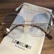 LeonLion 2019 Metal Goggle Rimless Sunglasses Women Ocean Le