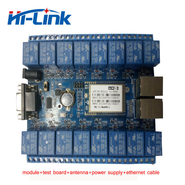 US $44 58 |Free shipping 16 channel relay module with free Android,PC  software,support private cloud/Remote control use in indust HLK SW16K-in  Home