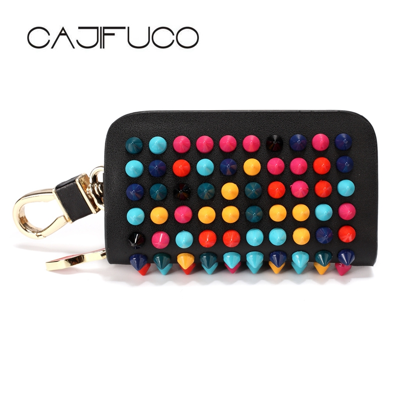 CAJIFUCO Multicolor Rivet Key Holder Fashion Car Key Wallet Women Studded Coin Purese Genuine Leather Housekeeper KeyChain