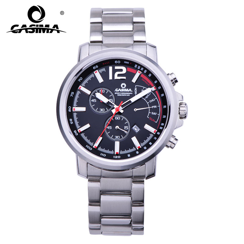 New Luxury brand watches men  casual charm function chronograph sport quartz wrist watch luminous waterproof 100mCASIMA #8305 цена и фото