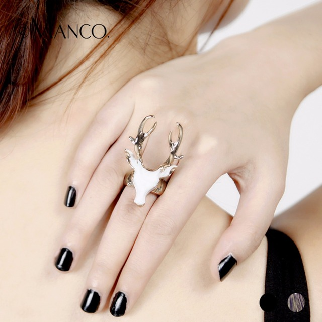 eManco men's rings black ladies enamel rings for women white color animals deer