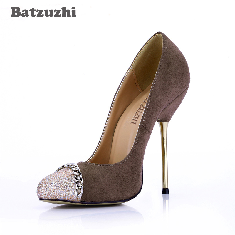 Batzuzhi 2017 New Spring Autumn Women Pumps Sexy Brown Suede High Heels Shoes Fashion Wedding Party Shoes Women Zapatos Mujer siketu 2017 free shipping spring and autumn women shoes sex high heels shoes wedding shoes sweet lovely pumps g126