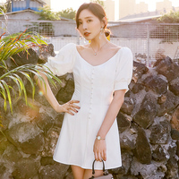 YIGELILA Women Vintage White Dress Summer Sexy V neck Puff Sleeve Empire Slim Solid Short A line Dress 64184